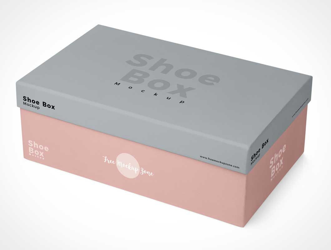 Closed Footwear Shoebox Packaging PSD Mockup