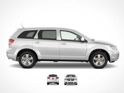 Dodge Journey Crossover SUV Caravan Front, Back & Sides PSD Mockup