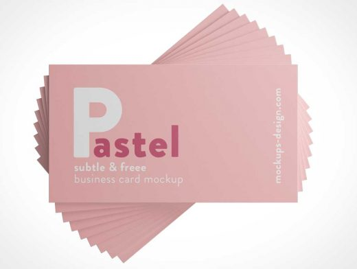 Fanned Business Card Stack PSD Mockup
