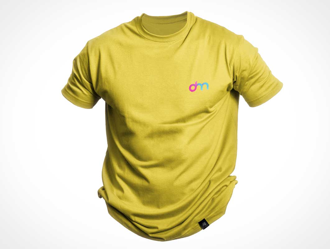 Floating T-Shirt Round Neck Front PSD Mockup