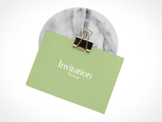 Invitation Card & Binder Clip On Marble Slab PSD Mockup