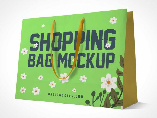 Large Boutique Paper Shopping Bag & Carry Handles PSD Mockup