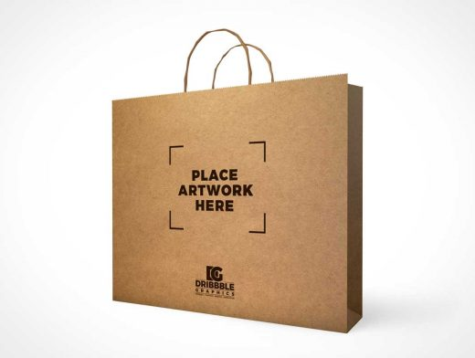 Large Recycled Paper Shopping Bag & Carry Handles PSD Mockup