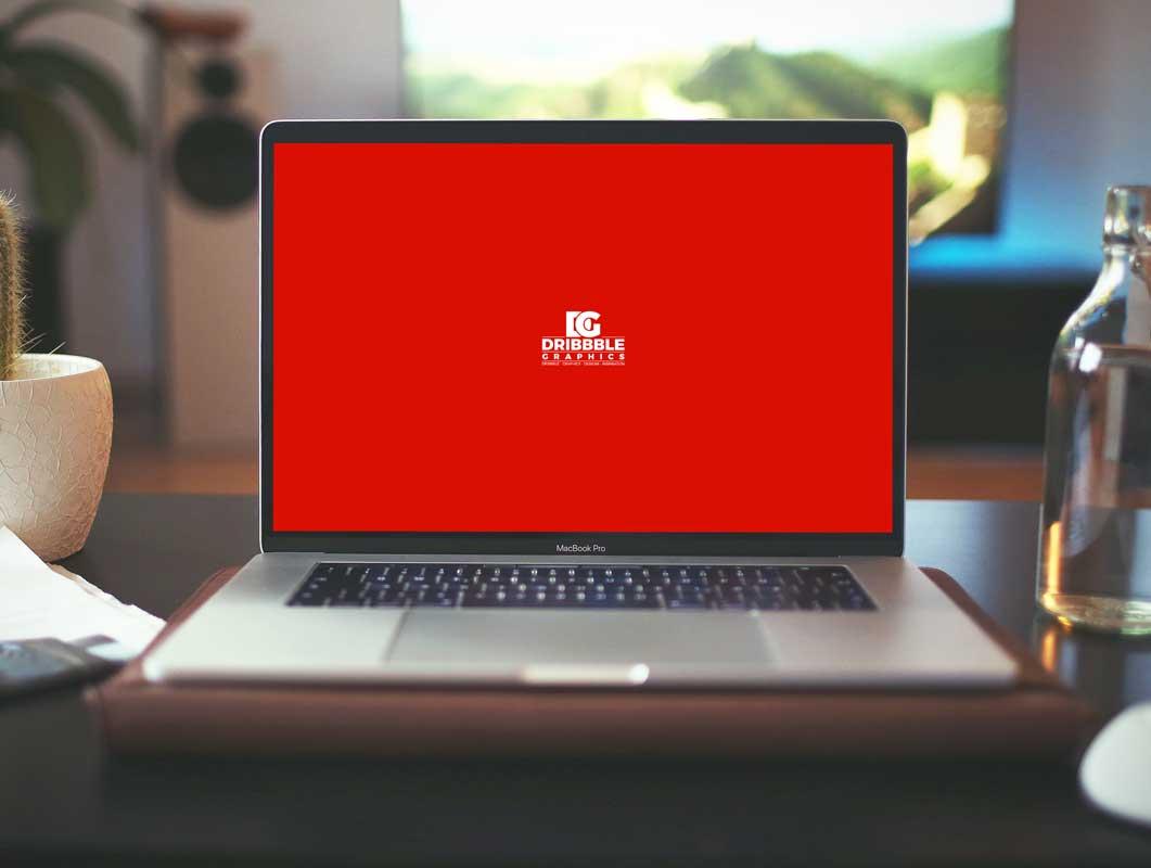 MacBook Pro Laptop Workspace PSD Mockup