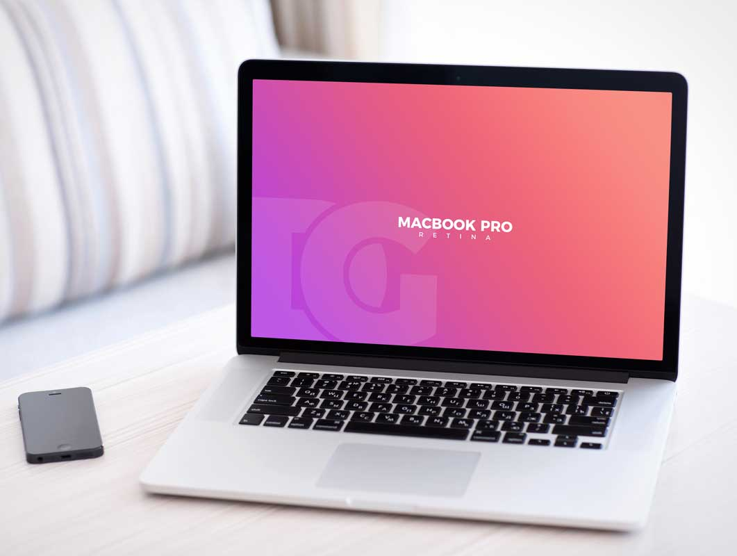 MacBook Pro Laptop Workspace & Smartphone PSD Mockup