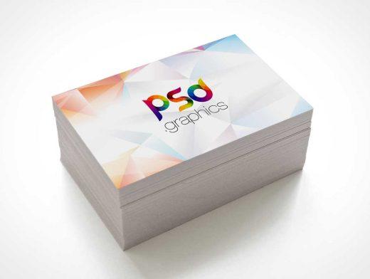 Misaligned Business Card Stack PSD Mockup
