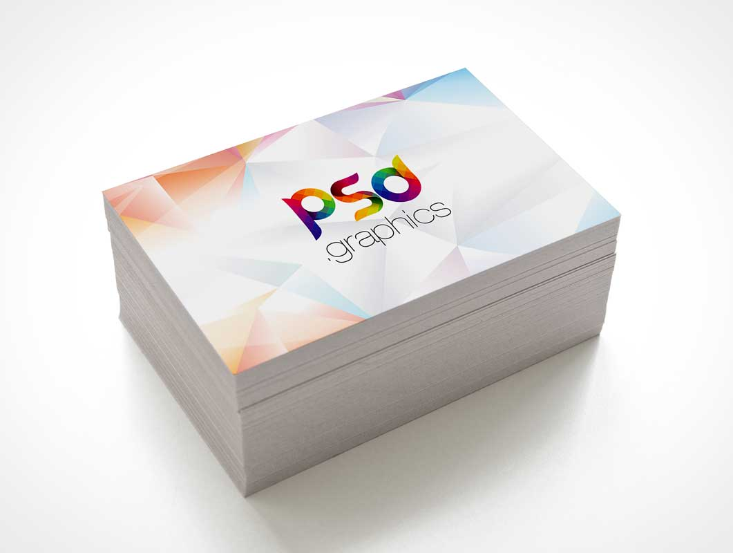 Misaligned Business Card Stack PSD Mockup