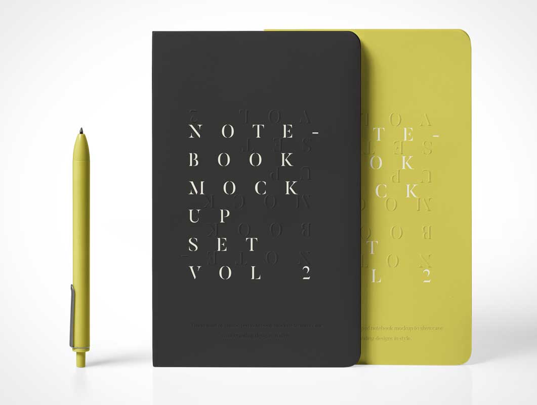 Sketch Notebook Cover & Stylus PSD Mockup