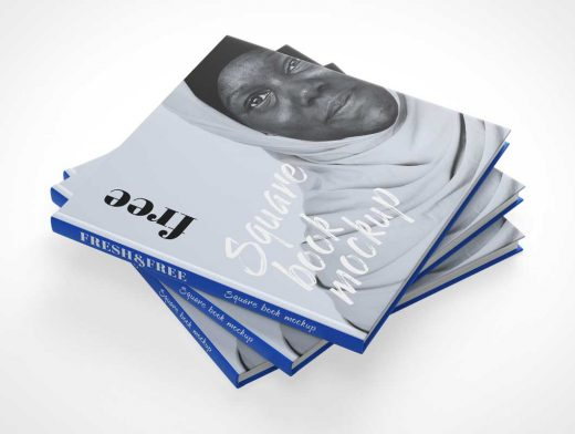 Square Hardcover Book Stack, Front, Back & Inside Pages PSD Mockup
