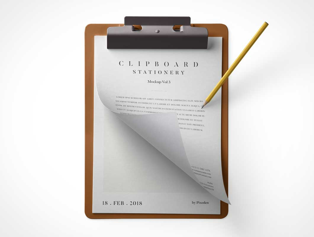 Stationery MDF Clipboard, Letterhead Papers & Pencil PSD Mockup