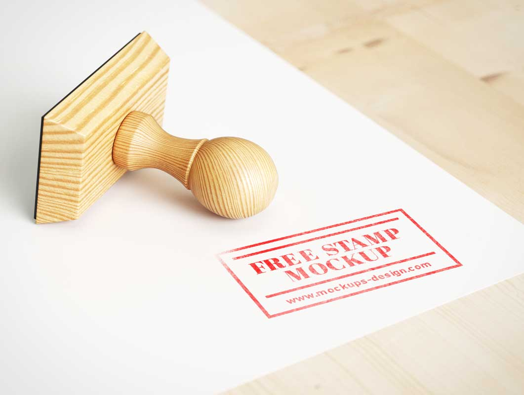 Stationery Receipt Rubber Stamp PSD Mockup