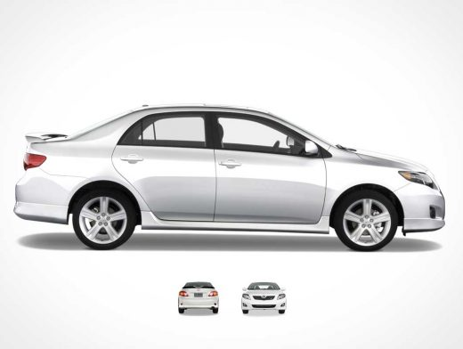 Toyota Corolla Four Door Family Sedan Front, Back & Sides PSD Mockup