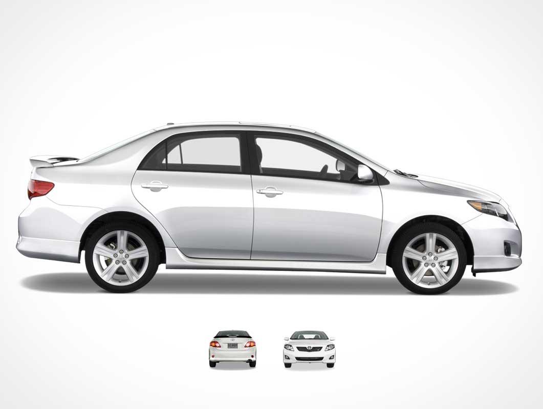 Toyota Corolla Four Door Family Sedan Front, Back & Sides PSD Mockup