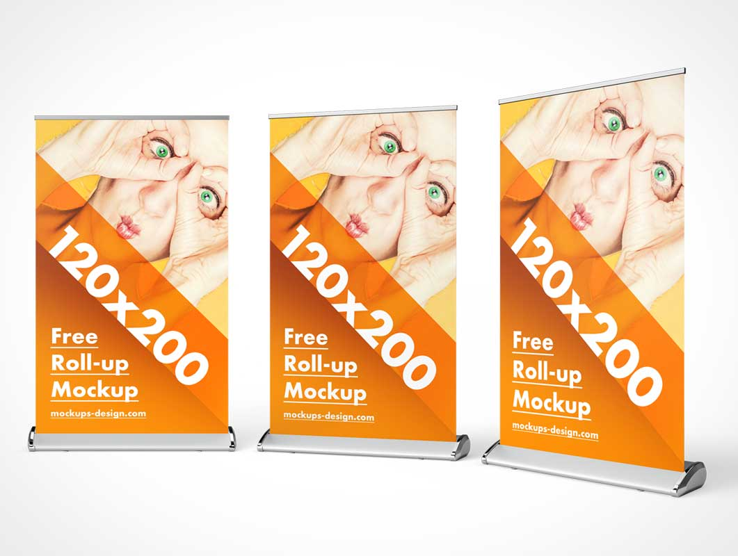 Trade Show Event Rollup Banner Flag PSD Mockup