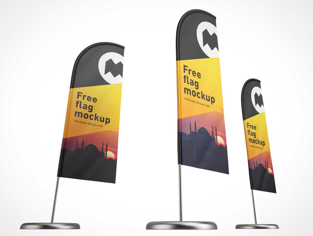 Tradeshow Event Rollup Feather Flag Banner PSD Mockup