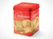 Biscuit Tin Box Packaging PSD Mockup