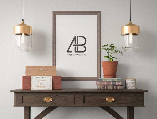 Credenza, Poster & Wooden Frame PSD Mockup