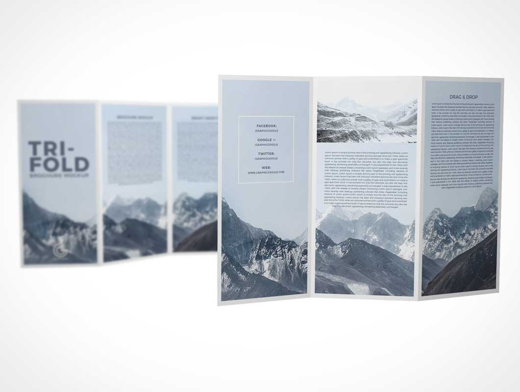 Dual 3 Panel Tri-Fold Brochure Front & Back PSD Mockup