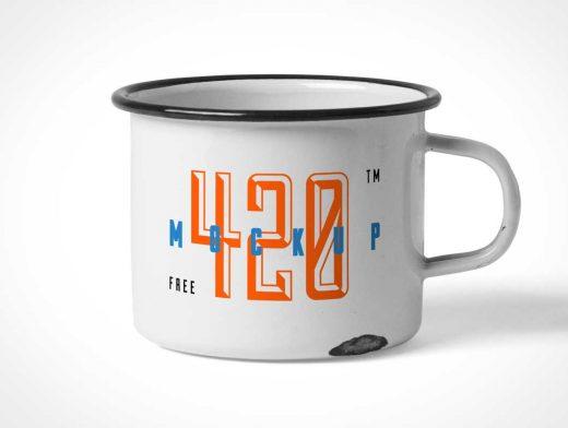Enamel Tin Mug & Label PSD Mockup