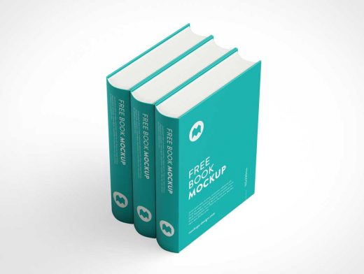 Hardcover Trilogy Book Set Spines & Front PSD Mockup