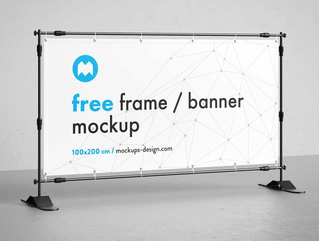 Landscape Trade Show Banner & Stand PSD Mockup