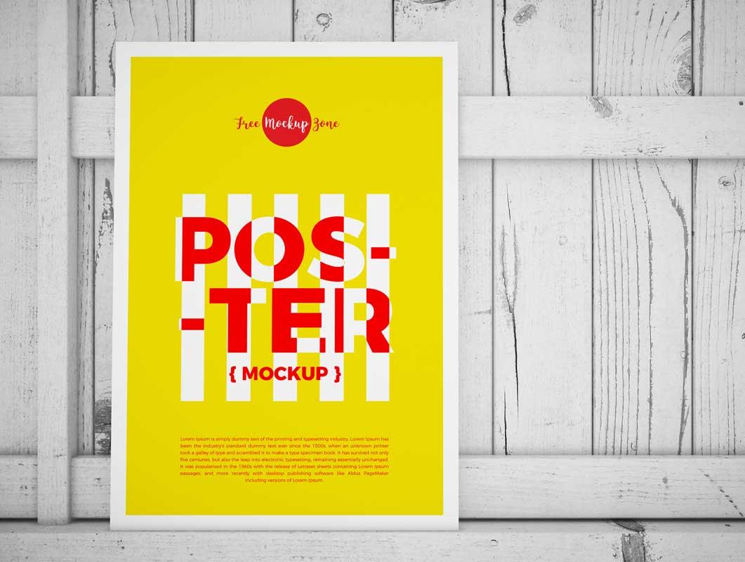 Leaning Portrait Poster & Frame PSD Mockup