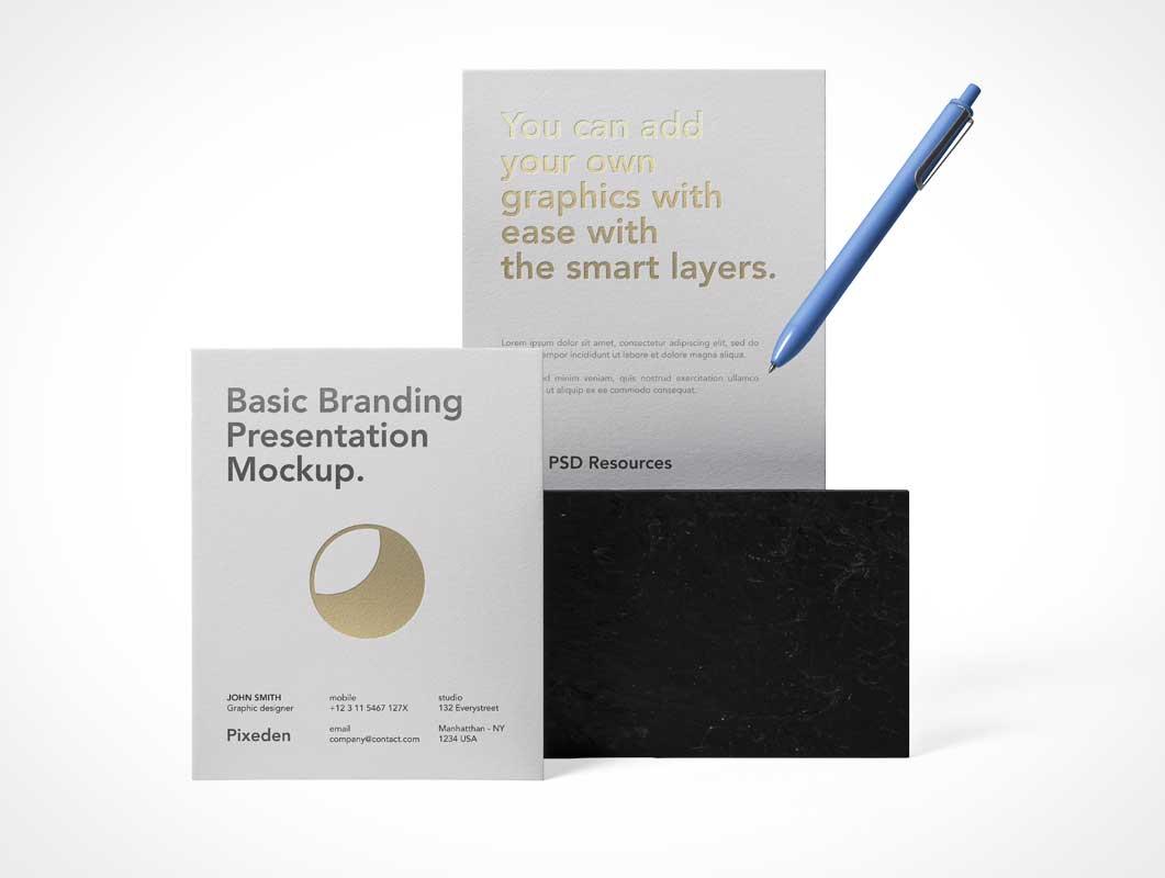 Letterhead & Stylus Pen Stationery Set Starter Pack PSD Mockup