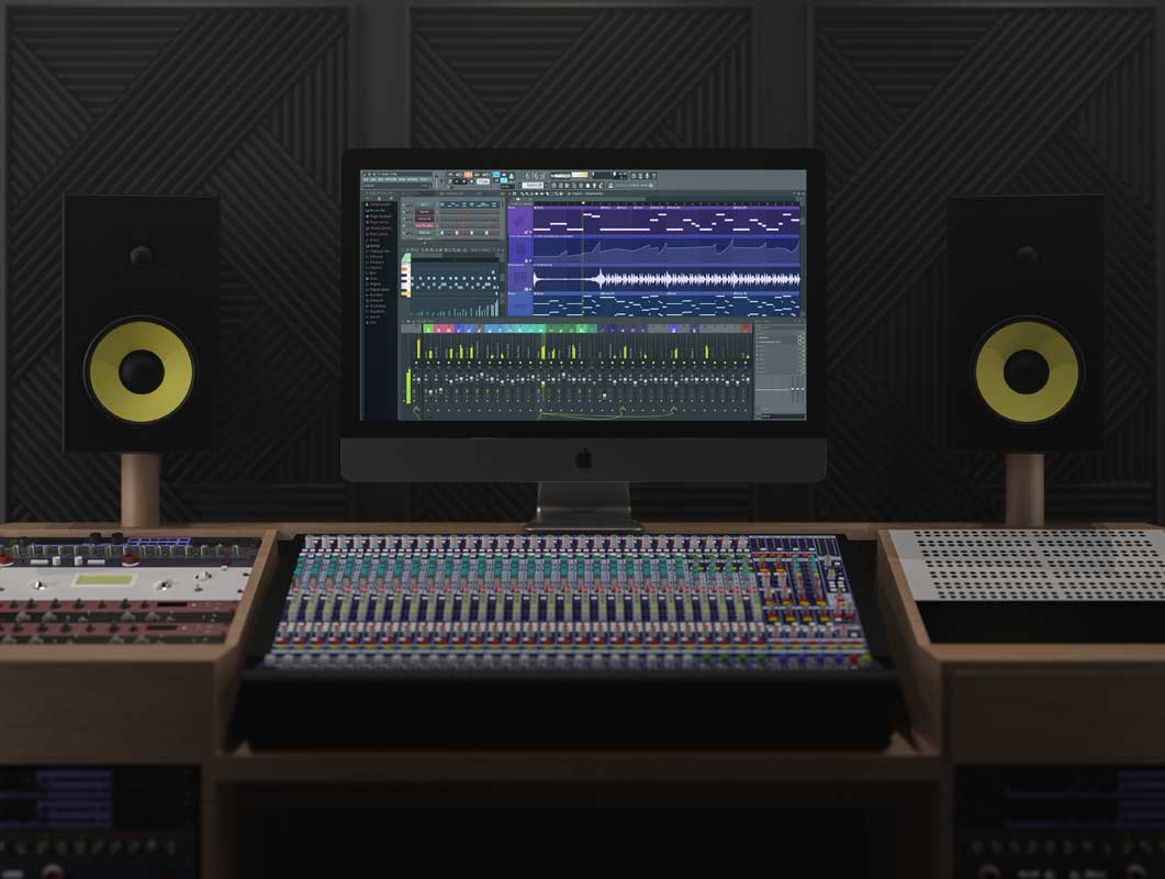 Music Studio Workstation, Sound Mixing Board & Speakers PSD Mockup