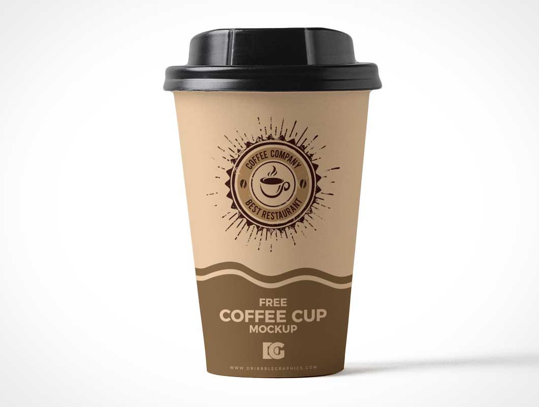 Paper Coffee Cup & Plastic Sip Lid PSD Mockup