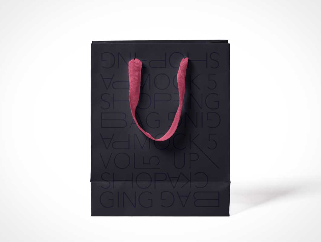 Paper Trinket Shopping Bag & Fabric Handle PSD Mockup