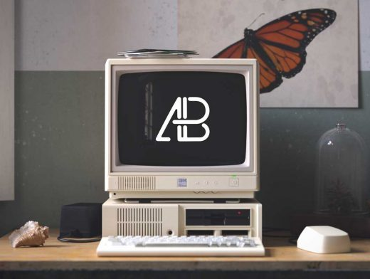 Retro IBM PC, Cathode Monitor & Floppy Drives PSD Mockup