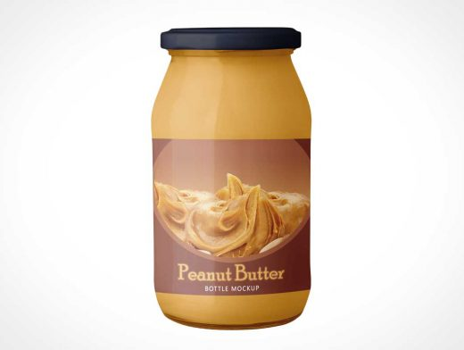 Sealed Glass Peanut Butter Jar PSD Mockup