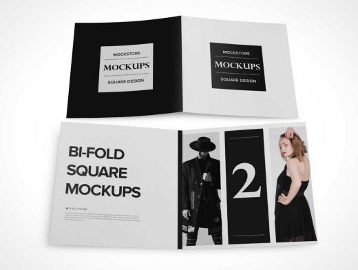 Square Bi Fold Inside Panels, Outside Cover PSD Mockup