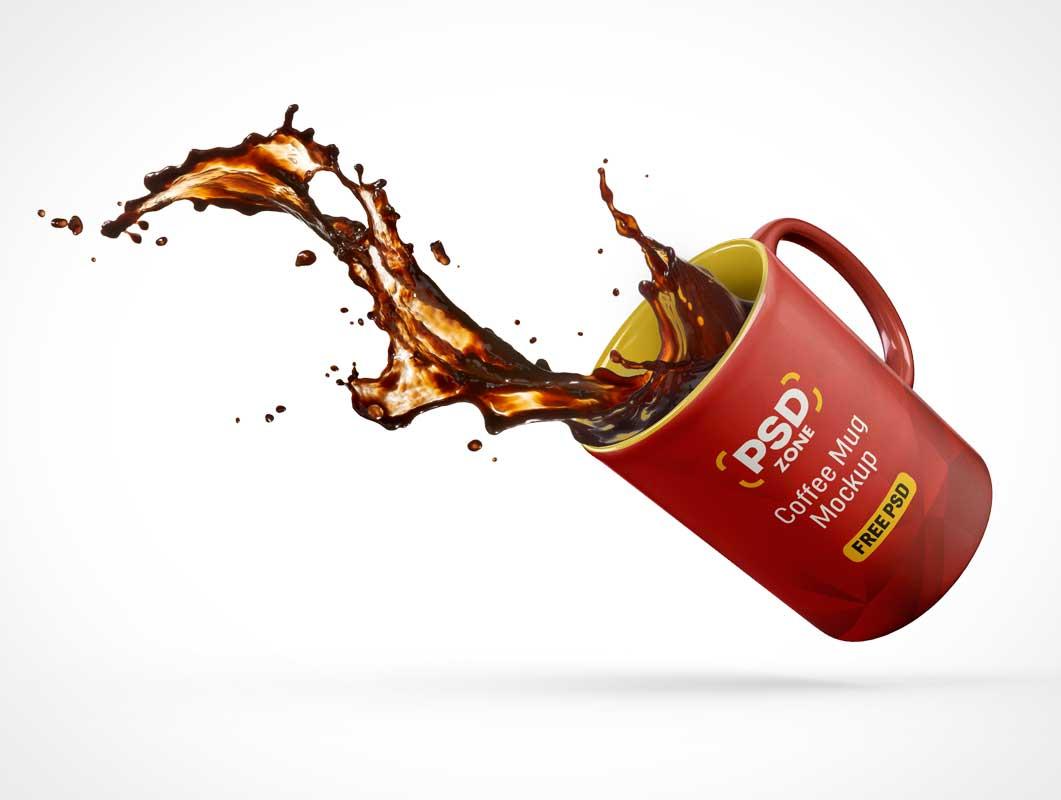 Stop Motion Coffe Mug Spill PSD Mockup