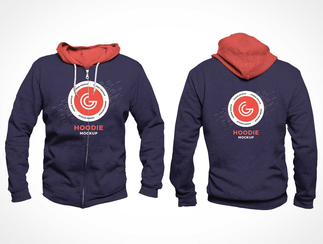 String Hoodie Sweater Shirt Front & Back PSD Mockup