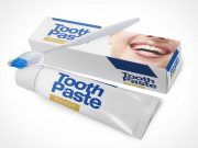Toothbrush, Toothpaste Tube & Packaging PSD Mockup