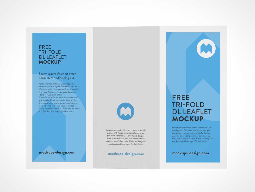 Tri-Fold Flyer Brochure Back & Front Panels PSD Mockup
