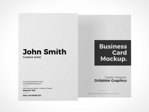 Vertical Business Card Pair Portrait Design PSD Mockup