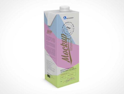 1L Tetra Brik Pak Packaging & Pour Spout PSD Mockup