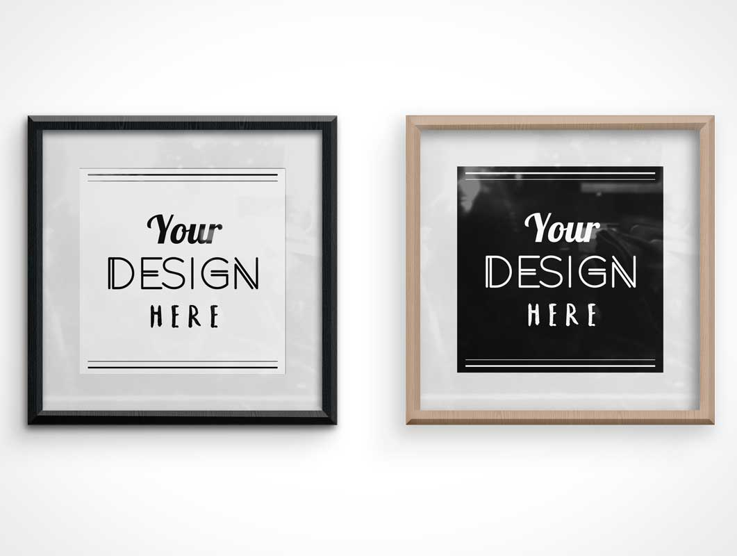 Beveled Wood Photo Frame Casing PSD Mockup