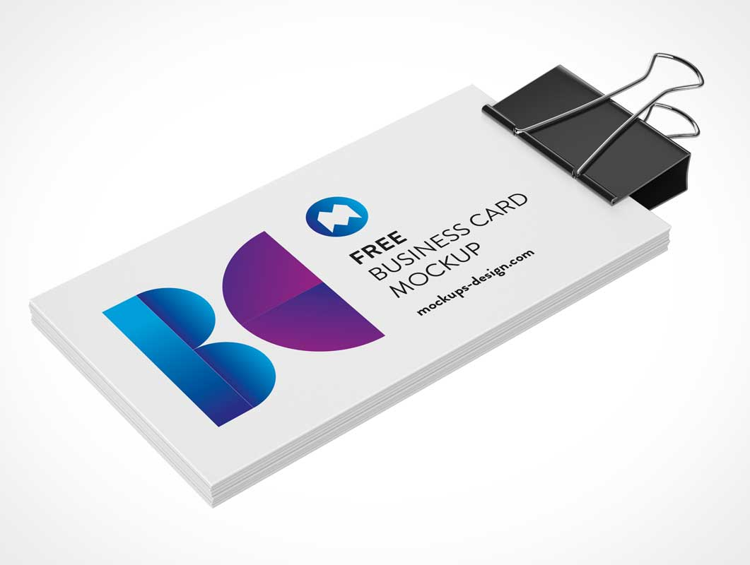 Business Card Front & Binder Clip Stand PSD Mockup