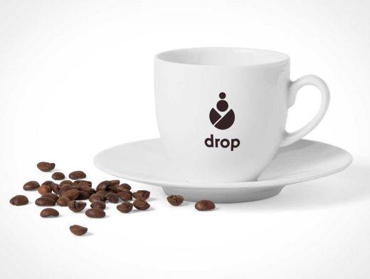 Ceramic Coffee Cup & Saucer Dish PSD Mockup