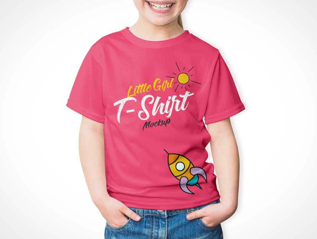 Child Wearing Round Neck Cotton T-Shirt PSD Mockup