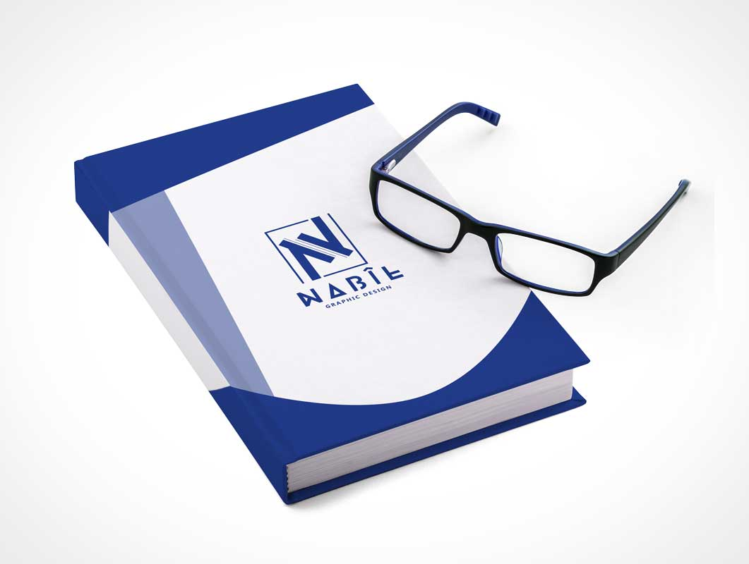 Closed Hardcover Book Front & Reading Glasses PSD Mockup