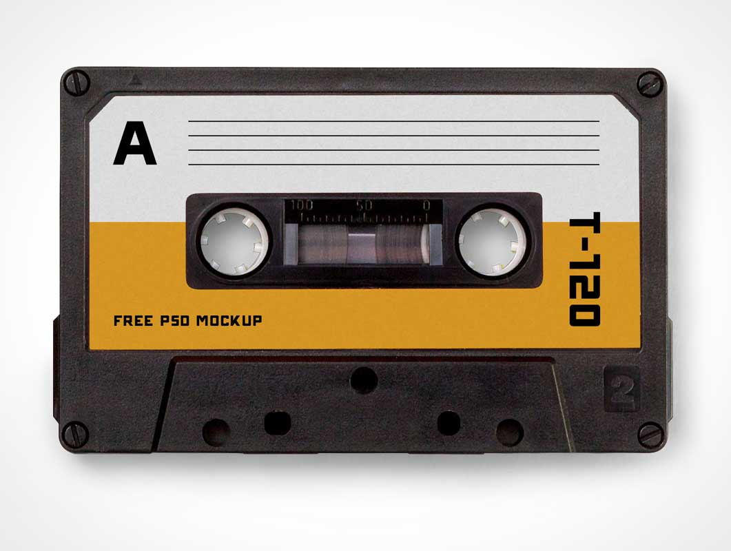 Compact Audio Magnetic Cassette Tape PSD Mockup