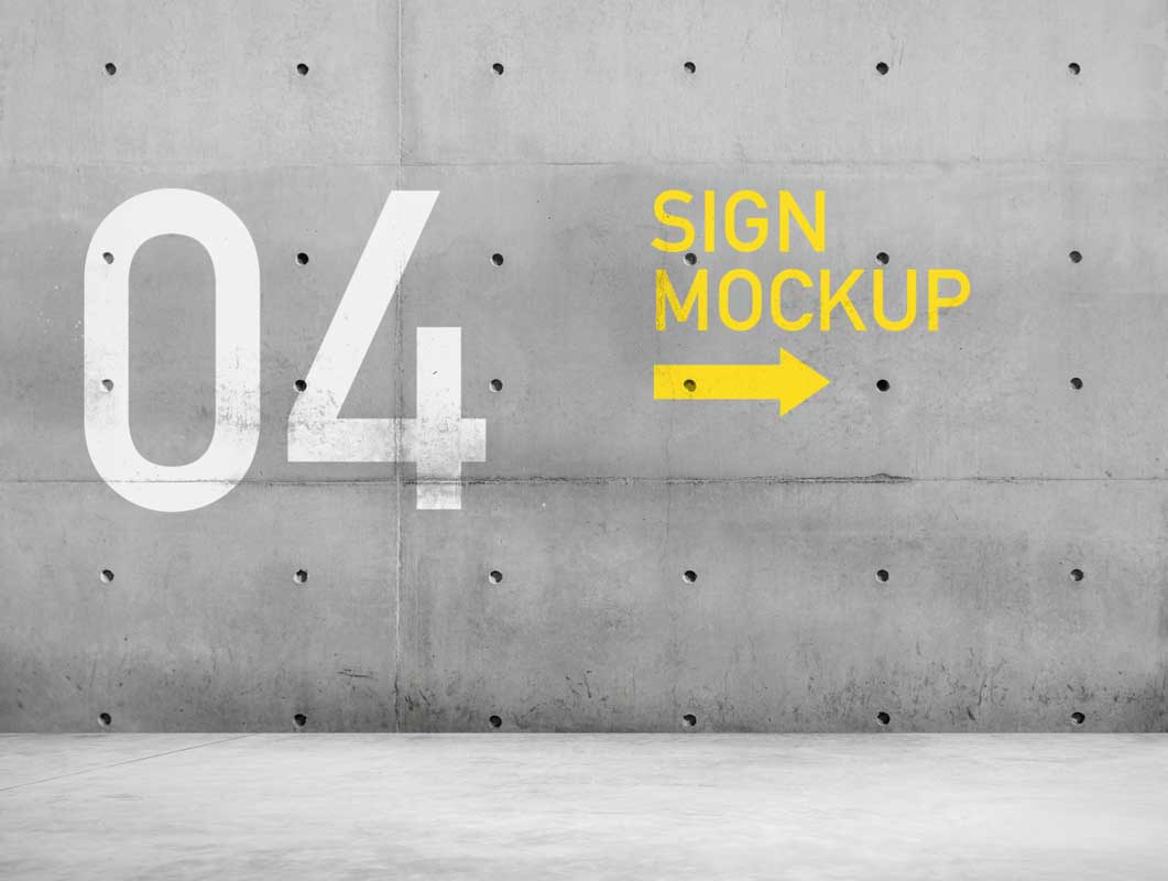 Concrete Landscape Billboard Sign PSD Mockup