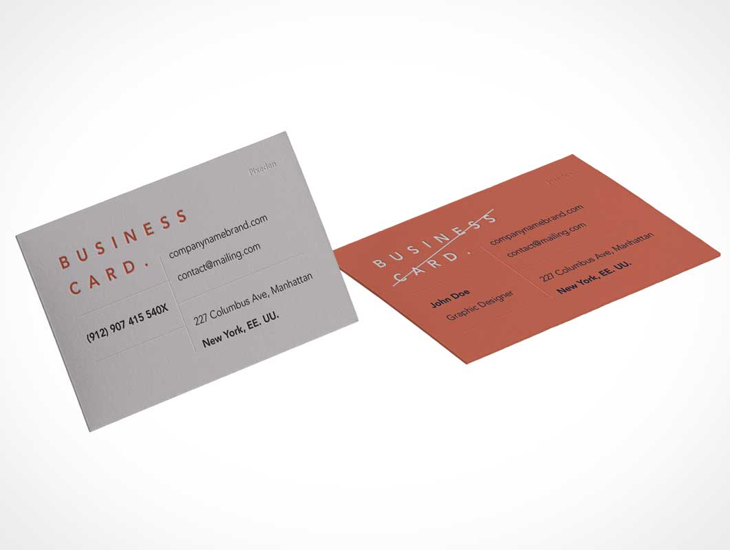 Corporate Branded Business Card Front & Back PSD Mockup