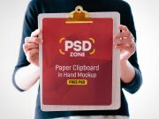 Handheld Clipboard & Paper PSD Mockup