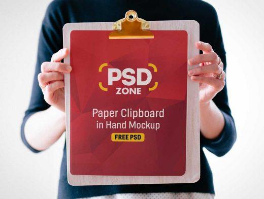 Handheld Clipboard & Paper PSD Mockup