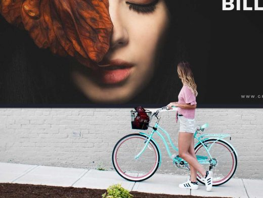 High Traffic Outdoor Landscape Billboard Advertising PSD Mockup
